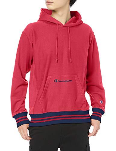[チャンピオン] パーカー トレーナー 裏毛 長袖 綿100% 10oz ラインリブ スクリプトロゴ刺繍リバースウィーブ フーデッドスウェットシャツ C3-T112 メンズ ディープレッド M