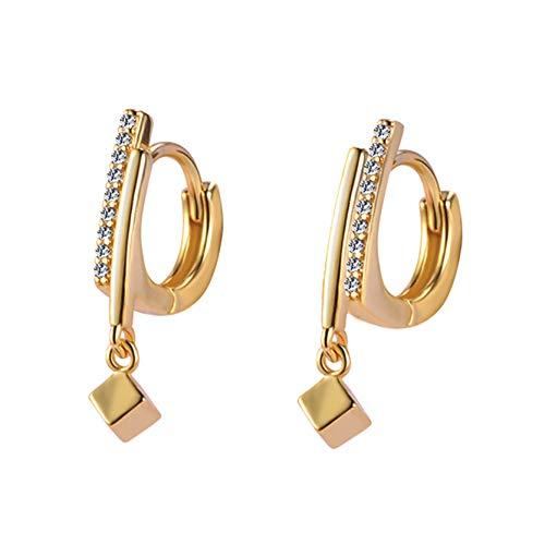 MAJFK Pendientes de tuerca para mujer de plata coreana pendientes de joyería de cristal sintético Zircon Little Star Stud Pendientes de perlas, oro