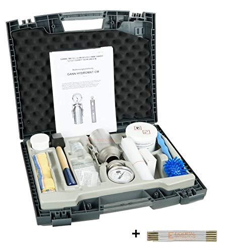 Gann CM Messung Hydromat CM-B Standard - Calcium Carbid CM Messgerät, CM Gerät, Estrich Feuchte - Bundle Angebot mit Eidertal Messtechnik Zollstock
