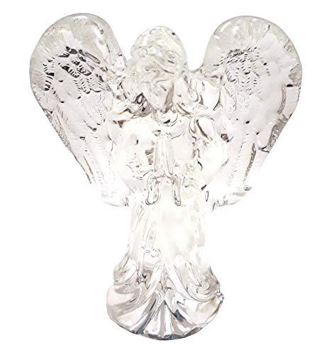 Angelo in vetro 10.4 x 7 x 3 trasparente passa la luce protezione con mani in preghiera con ali in vetro latteo angioletto