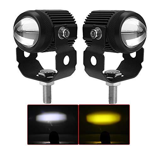 UNI-SHINE Mini LED Light pods 2inch Motorcycle LED Driving Lights 2 Color White Yellow Fog Lights Spot Beam for Motor ATV Truck Boat 4x4 SUV UTV Tractor Forklift(993-pair)