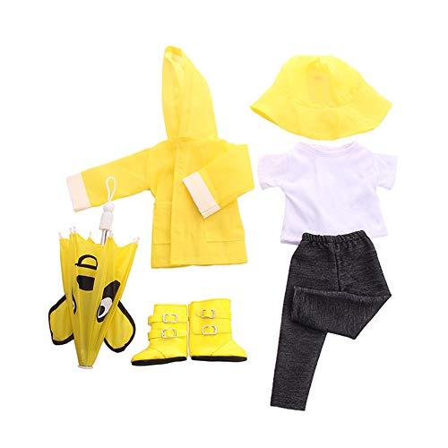 Uteruik Chubasquero para mueca de 46 cm, traje de mueca americana, gorro de lluvia, botas, camiseta, pantalones y paraguas, accesorio para disfraz, 6 unidades (amarillo)