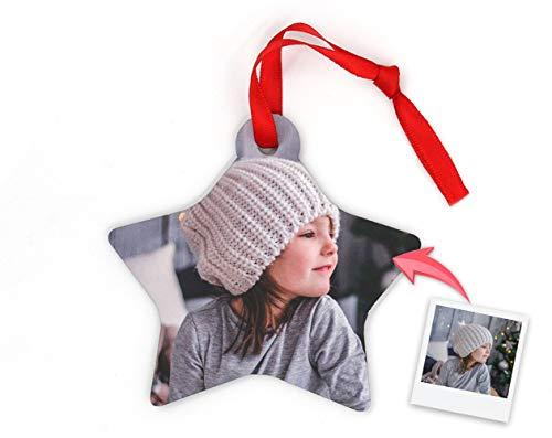 Getsingular Adornos de Navidad para árbol Personalizados con Foto | Adornos de Madera Doble Cara con Foto |...