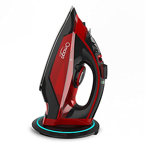 maytag cordless irons OMAIGA Steam Iron, 1500W Cordless Iron, Steam Iron for Clothes with 11.8ozs Water Tank, Anti Drip Clothes Iron Steam with Ceramic Soleplate, Steam Iron for Clothes with 3 Temperature Settings