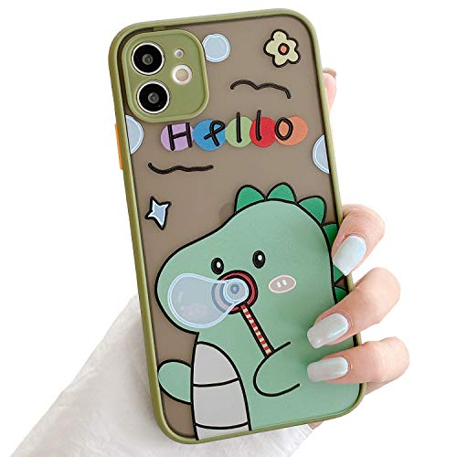 Joruby Compatible with iPhone 11 Case, Clear Cute Pattern Frosted PC Back 3D Floral Design for Women Girls Soft TPU Shockproof Anti-Scratch Protective Cases for iPhone 11 6.1inch (Green)