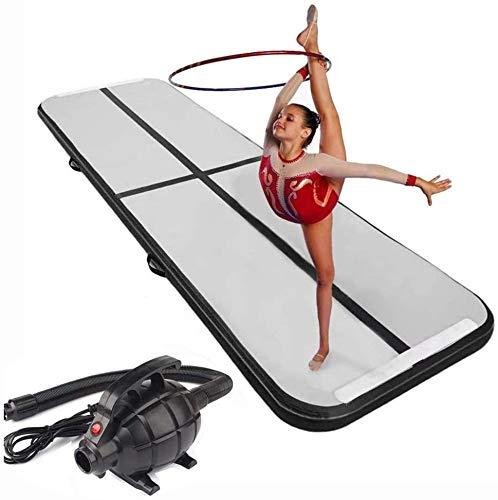 RPOLY Aufblasbar Trainingsmatte, Air Floor Mat mit Elektrischer Luftpumpe für Cheerleading/Praxis Gymnastik/Strand/Park/Hausgebrauch,Black_3x1x0.1m