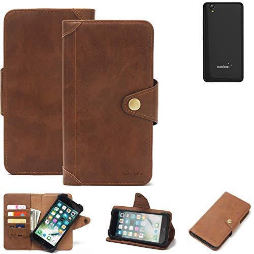 K-S-Trade® Handy-Hülle Für Mobistel Cynus E7 Schutz-Hülle Walletcase Bookstyle Tasche Handyhülle Schutz Hülle Handytasche Wallet Flipcase Cover PU Braun (1x)