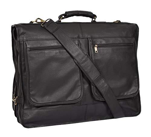 Genuine Leather Suit Garment Dress Carriers Black Travel Cabin Bag Riga