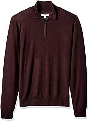 Amazon Brand - Goodthreads Men's Lightweight Merino Wool Quarter Zip Sweater, Burgundy, Medium from Goodthreads