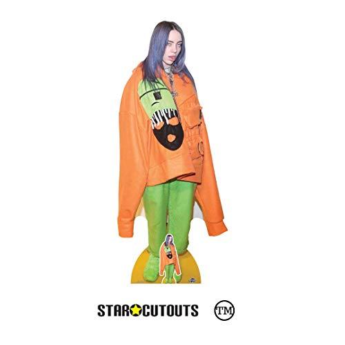 Star Cutouts CS814 Billie Eilish Pappaufsteller in Lebensgröße, inklusive Mini-Tischplatte, 163 cm, mehrfarbig