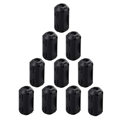 Fushengda 10 Piezas de 5 mm de Diámetro Interior con Clip para Anillo de ferrita, Núcleo antiinterferencias, Filtro de Alta frecuencia RFI emi, Cabl