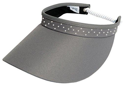 Glove It Bling Visor, Ladies Visor Hat, Sun Visor for Women, Golf Visor, Visor for Running, Tennis, Beach, Grey Bling Coil Visor