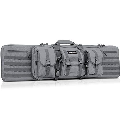 Savior Equipment American Classic Tactical Double Long Rifle Pistol Gun Bag Firearm Transportation Case w/Backpack - 42 Inch Ash Gray
