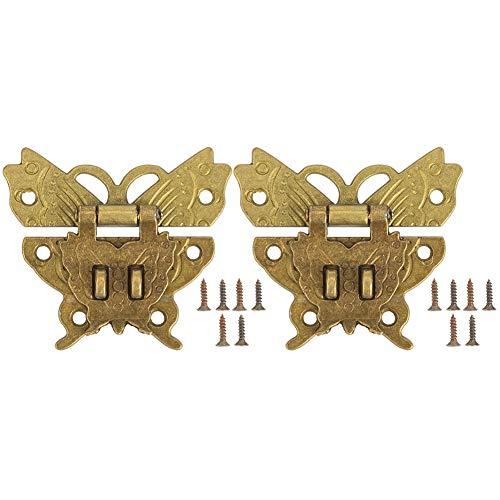 2 piezas de cerrojo de cerrojo, cierres de cerrojo de cierre antiguo Cerradura de gancho de mariposa decorativa de bronce vintage con 12 tornillos para caja de maleta Fabricación de cajas de madera 60