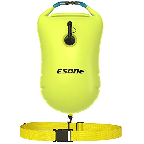 ESONE Swim Buoy - Open Water Swim Buoy Flotation Device with Dry Bag and Waterproof Cell Phone Case for Swimmers, Triathletes, and Snorkelers. Floats for Safer Swims 15L (Yellow)