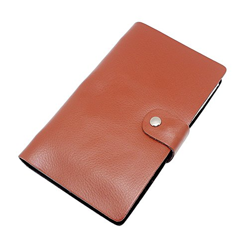 Boshiho Leather Credit Card Holder Business Card Case Book Style 90 Count Name ID Card Holder Book (Tan)