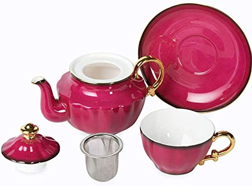 Teteras / Café Conjunto de té de té de porcelana de cerámica Hueso China Conjunto de té de China Inglés Tetera esmaltada Tetera Tetera platillo 450 ml para té Coffee Home Office Garden Exquisito Decor