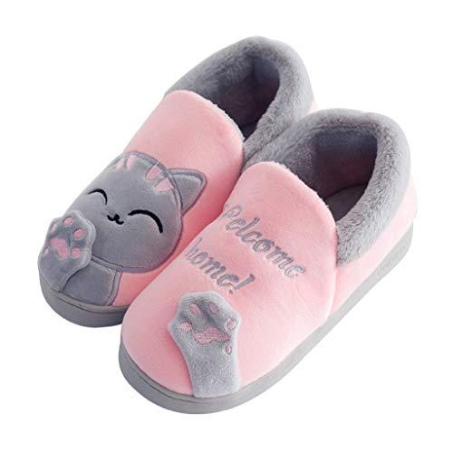 CNNWomen Mujer Zapatillas de Estar por Casa Lindo Gato Pantuflas Térmicos de Invierno Suave, Cómodo Y Antideslizante para Interiores Zapatos,Rosado,38/39