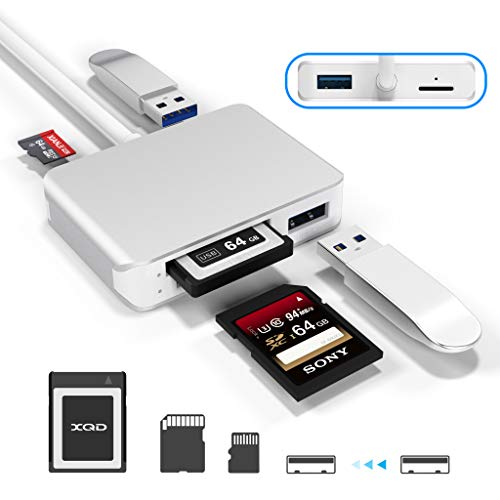 【Upgraded Version】 XQD Card Reader USB 3.0 SD(HC/XC) TF Card Reader with USB3.0x2 Fast Speed Up to 5Gbps,Compatible with Sony G&M Series XQD and TF/SD/SDHC Cards, for Windows/Mac OS