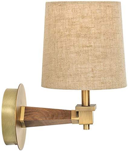 Lámparas de pared industriales, Lámpara de la cama de la noche de la luz de la pared Lámpara moderna de la tela minimalista de la tela y la lámpara de pared de metal de madera y platillo con un interr
