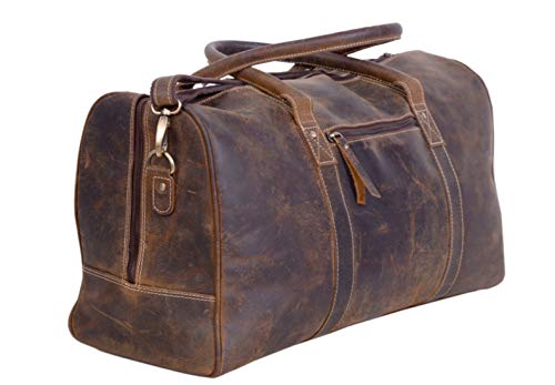 KomalC Leather Travel Duffel Bags for Men and Women Full Grain Leather Overnight Weekend Leather Bags Sports Gym Duffle. (Buffalo Distressed Tan)