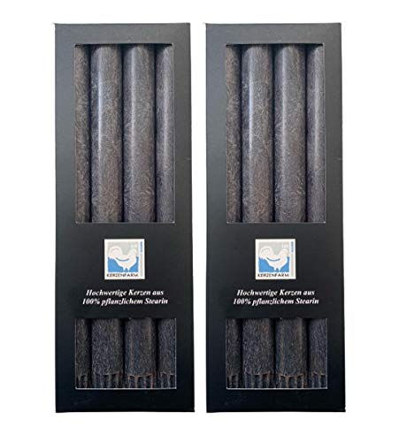 Kerzenfarm Hahn 8 Stearin-Stabkerzen, 8er Set (2x4 STK.), 22 x 250 mm, Anthrazit, pflanzliches Echtwachs, Tafelkerzen