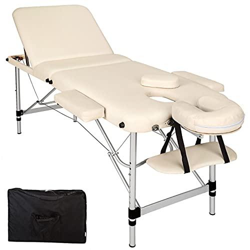 Multistore 2002 Table de massage 3 zones en aluminium avec rembourrage 5 cm + sac Beige