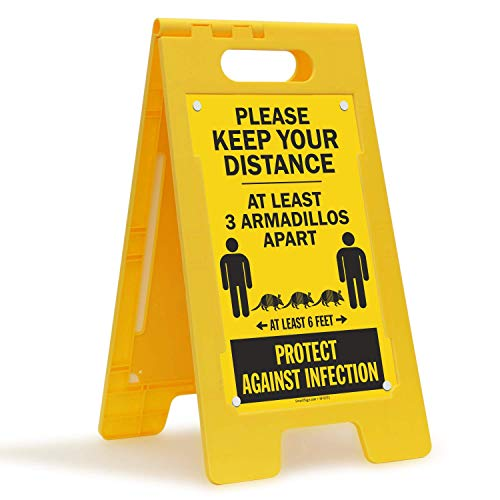 SmartSign Social Distancing Folding Floor Sign, Please Keep Your Distance Sign - Funny 3 Armadillos Apart Message  25x12 Inches Double-Sided Portable Plastic Sign, for Factory/Building/Warehouse