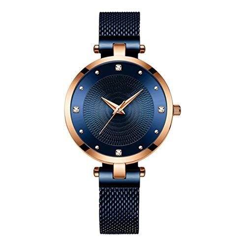JCCOZ-URG Moda Mujeres Relojes Nueva Acero Inoxidable Ultra Delgadas de Cuarzo Mujer románticos Relojes del Reloj de Las Mujeres URG (Color : Blue)