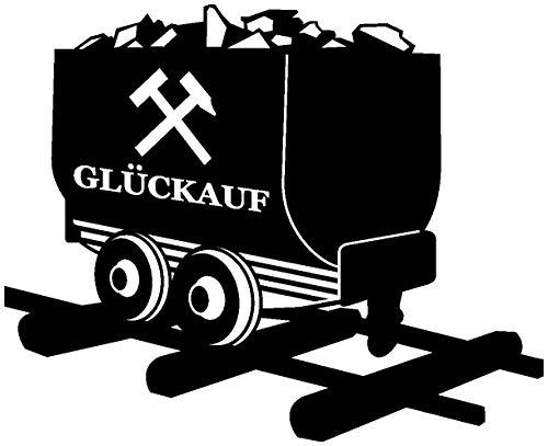 Samunshi® Glück Auf Lore Aufkleber Gelsenkirchen Schalke Ruhrpott Oberhausen Bottrop Ruhrgebiet in 10 Größen und 25 Farben (10x8,2cm schwarz)