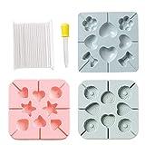 jiheousty 3 Piezas de Silicona Love Heart Shape Lollipop Mold Candy Chocolate Mold con goteros y 100 Lollipop Sticks