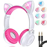 GBD Wireless Cat Ear Kids Headphones with Mic for Girls Boys Teens School Travel Tablet Holiday Birthday Gifts Led Glowing Headphones Foldable Volume Limited On Over Ear Game Headset Valentines (Pink)