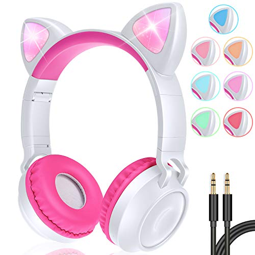GBD Wireless Cat Ear Kids Headphones with Mic for Girls Boys Teens School Travel Tablet Holiday Birthday Gifts Led Glowing Headphones Foldable Volume Limited On Over Ear Game Headset (Pink)