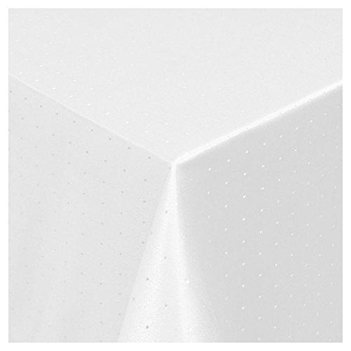 DEINWOHNSTIL Tischdecke Damast mit Saum im Punktedesign - Eckig Oval und Rund in Premiumqualität - Grösse und Farbe wählbar - OVAL 160cm x 220cm in Weiss
