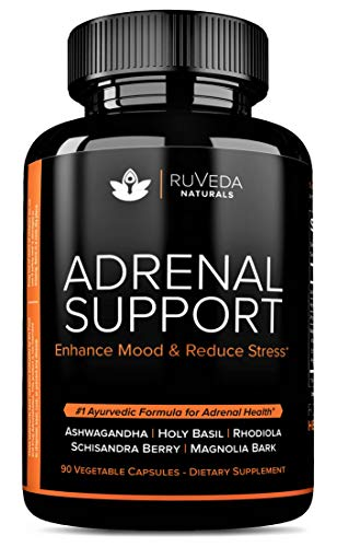 Adrenal Support — Natural Adrenal Fatigue Supplements, Cortisol Manager with Ashwagandha Extract, Rhodiola Rosea, Holy Basil, Adaptogenic Herbs for Anxiety