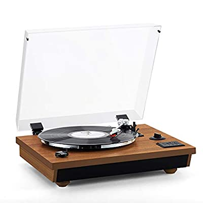 Rcm Wireless 3-Speed Turntable with Stereo Speakers Natural Wood Vinyl Record Player, Belt-Drive, Vinyl to MP3 Recording, RCA Output, USB (MC-262 Brown)
