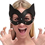 CoURTerzsl Halloween Carnaval Gato Señora Mascarada Mascarada Máscara Sexy Cosplay Gato PU Cuero Máscara Gato Orejas Mitad Cara Máscara