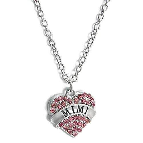 Tono Plateado Corazón De Color Rosa Mimi En Inglés Collar Colgante Grabado 2.0 x 2.0 cm Con 45cm Cadena Diamante De Imitación Amor Corazón Mamá Familia