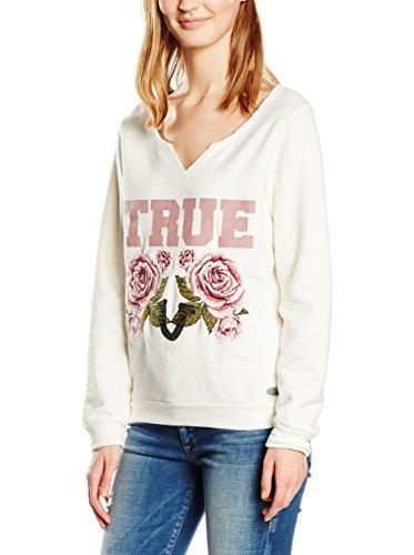 True Religion Sweater True Roses Felpa, Bianco, S Donna