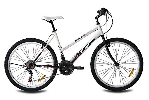 KCP 26' Mountain Bike Lady Wild Cat 18 Speed Shimano White Black - (26 Inch)
