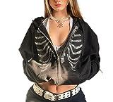 Sudadera con capucha Y2k con cremallera para mujer, diseño estético, con capucha, con diseño de diamantes de imitación y esqueleto, chaqueta E-Girl 90s Streetwear, B-negro, M