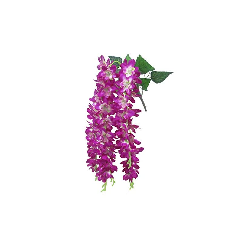 "silk flower arrangements dalamoda purple pink 2pcs plumeria silk floral spray orchid flower,27"" in length ,artificial silk flower for diy wedding prom,flower bouquet,wisteria hanging garland wall restaurant decoration"
