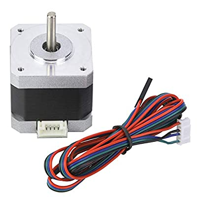 Nema 17 Bipolar Stepper Motor 1.8° 420mN.m/60oz.in with Connecting Cable for CNC 3D Printer, Stepper Motor DC2.4V 1.5A