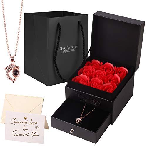 Yodeace Rosa Eterna, Regalos Originales para Mujer Jabón de Rosa Eterna Caja de Joyería de Rosas con Collar de Delfines Regalo Romántico para Esposa Novia Aniversario Día de San Valentín