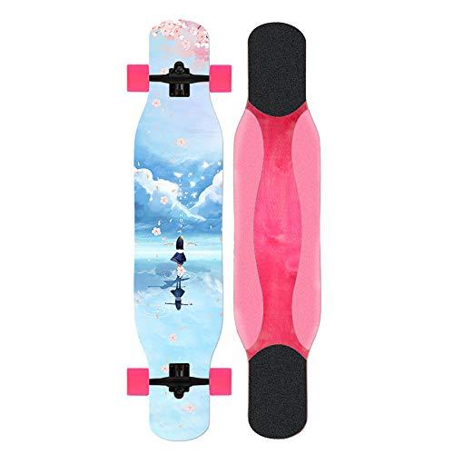 Longboard Skateboard Komplette Maple Drop Down durch Cruiser 46-Zoll-Katze und Mädchen Dancing Deck Longboard für Anfänger Mädchen und Jungen Carving Riding- # 2