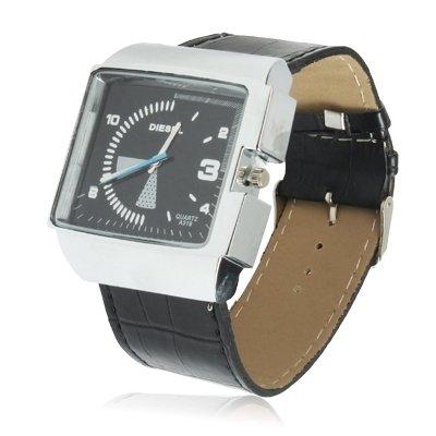 SPORTWATCHES Schöne Uhren, Stilvolle Quarz-Armbanduhr Armbanduhr mit Lederband (Farbe : Schwarz)