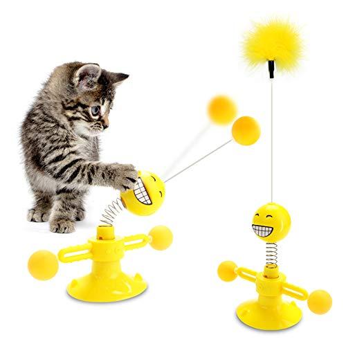 SANBLOGAN Windmühle Katzenspielzeug, Interaktiv Katzenspielzeug Pädagogisches Katzenspielzeug Drehscheibe Spielzeug für Katzen mit Saugnapf/Feder/Ball für Katze Zum Spielen,BeißEn,Kauen Und Treten