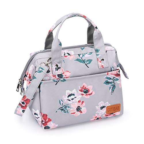 Lunch Bag for Women Men Insulated Durable Reusable lunch Box with Adjustable Shoulder Strap Wide-Open Thermal Cooler tote Bag Water Resistant