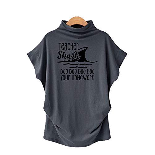 DREAMING-Camiseta De Manga Corta De Murciélago con Cuello En V para Mujer, Talla Grande, Primavera Y Verano, Manga Corta + Estampado M