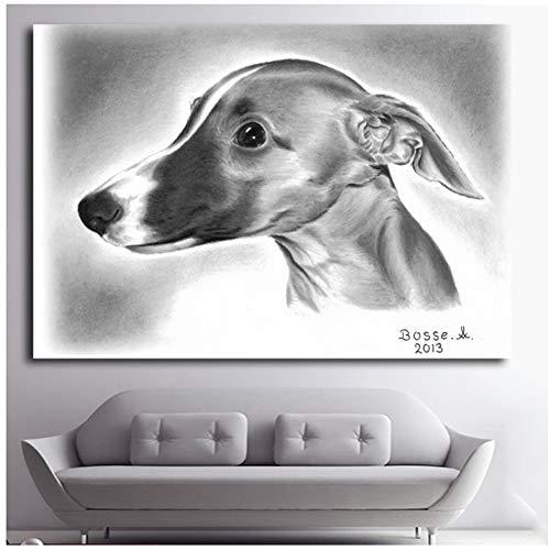 Modern abstract zwart wit vintage Italië maffia dieren hond canvas poster print muur kunst Scandinavische huisdecoratie schilderijen -60x90cm geen frame